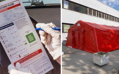 Pred galantskou nemocnicou je zriadené nové mobilné odberové miesto na testovanie. Nemocnica má 121 lôžok pre nakazených koronavírusom