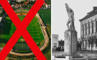 AKTUÁLNE! Rekonštrukcia futbalového štadióna sa zastavuje! Socha Legionára sa našla pod futbalovým ihriskom