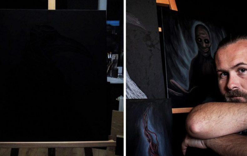 Seredčan Miroslav Čirka namaľoval tajomný obraz len čiernou farbou. To, čo na ňom uvidíte, vás dostane!
