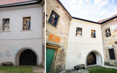 """""""Graffiti"""" z fasády bastiónu seredského kaštieľa zmizli. Reštaurátorské práce aj naďalej pokračujú"""
