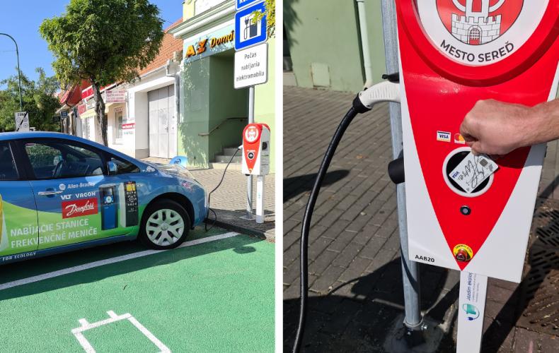 Prvá nabíjacia stanica pre elektromobily v Seredi je už v prevádzke. Nájdete ju na Námestí slobody