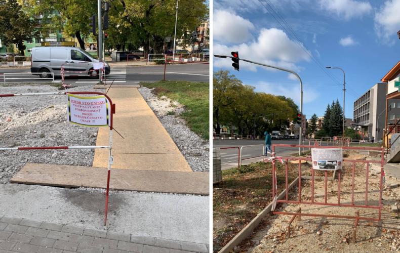 Rekonštrukciu chodníkov na svetelnej križovatke v Seredi pozastavili dve staré lipy. Kedy bude zatarasený úsek prechodný?